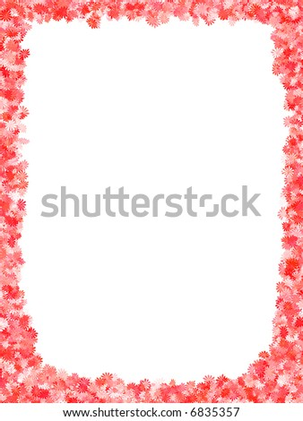 Frame with red flowers abstract