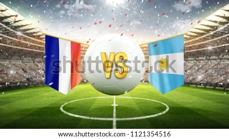 France vs Argentina. Soccer concept. White soccer ball with the flag in the stadium, 2018. 3d render