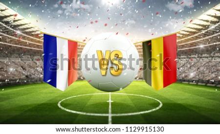 France vs Belgium. Soccer concept. White soccer ball with the flag in the stadium, 2018. 3d render