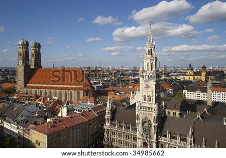 """Frauenkirche"" and city hall in Munich in Germany"