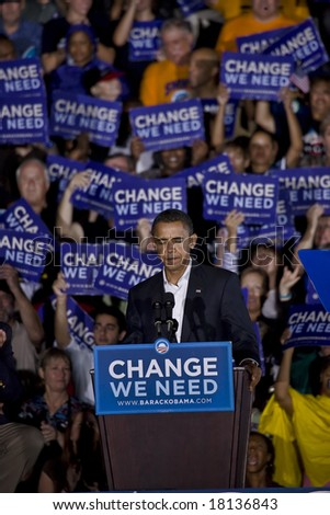 FREDERICKSBURG,VA - SEPT 27: Democratic presidential candidate Barack Obama pauses as he speaks to supporters at a rally on September 27, 2008 in Fredericksburg, Virginia.