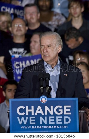 FREDERICKSBURG,VA - SEPT 27: Democratic vice presidential candidate Joe Biden speaks to supporters at a rally on September 27, 2008 in Fredericksburg, Virginia.