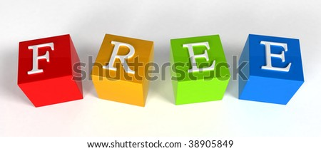 """FREE"" phrase compiled with a cubes - 3d rendering"