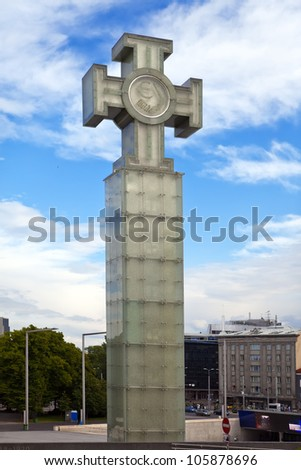 �«Freedom monument�» on Freedom Square, is devoted to Emancipating war of 1918-1920, Tallinn, Estonia - stock photo