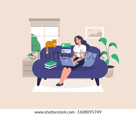 Freelance Girl Working at Home. Woman Character Sitting on Sofa with Laptop and Cat. Home Office or Coworking Place. Flat Cartoon Illustration.