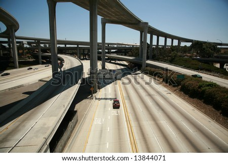 110 freeway South bound in Los Angeles California with On Ramps and off ramps traffic