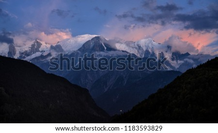 French Alps at sunset, Mont-Blanc, 4810 m