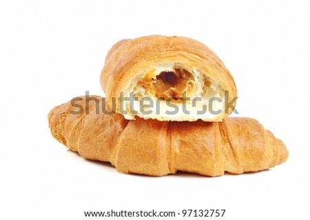 French fresh croissants on white background