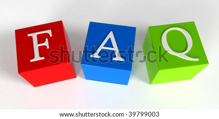 """Frequently Asked Questions"" phrase compiled with a cubes - 3d rendering"