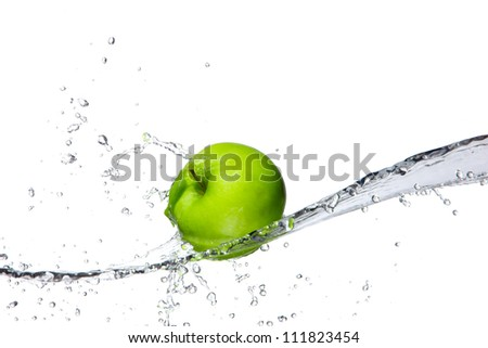 Fresh apple with water splashing, isolated on white background