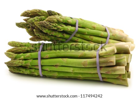 fresh asparagus shoots in bundles on a white background