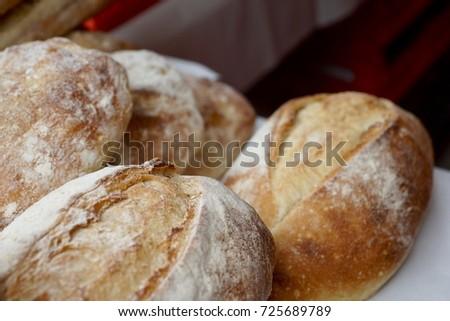 fresh Bread loafs closeup #725689789