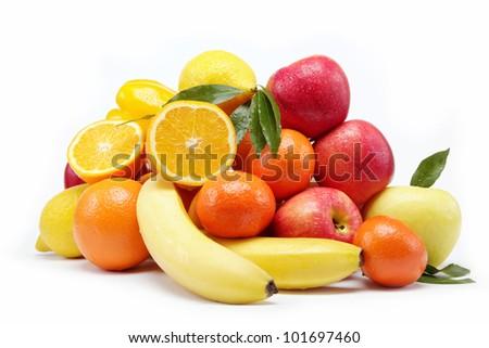 Fresh citrus fruits isolated on a white background.
