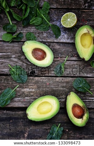 fresh ,green  avocado and spinach