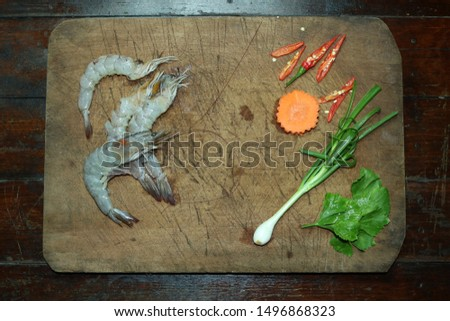 Fresh Shrimp fresh Chili and fresh coriander ready to cook #1496868323