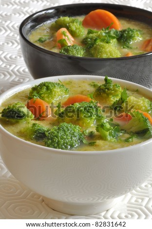 Fresh soup of broccoli in black and white bowl