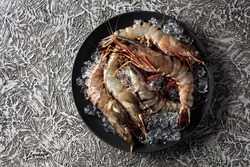 Fresh tiger prawns in a black plate with crushed ice on rough rustic background, top view with copy space.