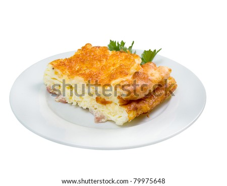 Fried egg omelette on plate with parsley