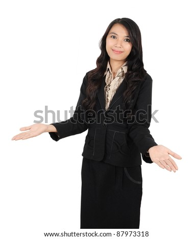 friendly attitude of a business woman isolated on white background