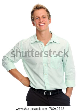 Friendly attractive blonde male smiles widely
