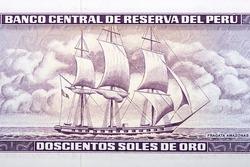 Frigate Amazonas from old Peruvian money