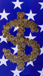 $  from stacks of  state 25 cents quarters coins, money concept, American flag background