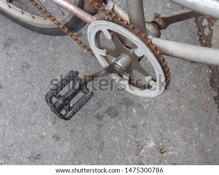 front sprocket bicycle with a connecting rod and a chain. #1475300786