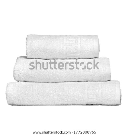 3 frotte towels white color, bedroom towel white backgroung. Colorful white bath towels insulated. Stack white towels. Pile colored towels isolate. Three cotton towel of same color stacked.