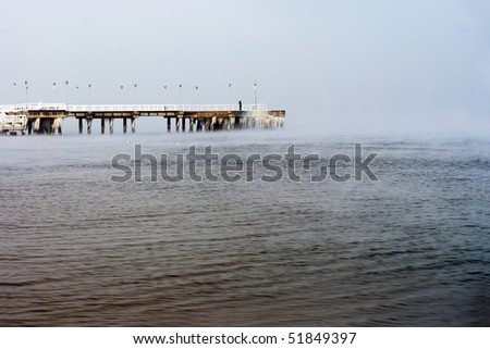 Frozen pier, lonely man - Poland Danzing - Gdansk