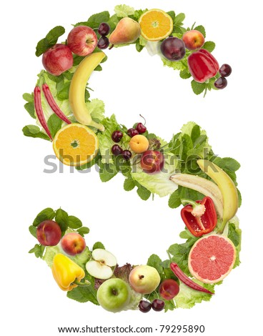 Fruit and vegetable alphabet - letter S. Isolated on a white background