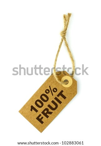 100% Fruit label with brown text