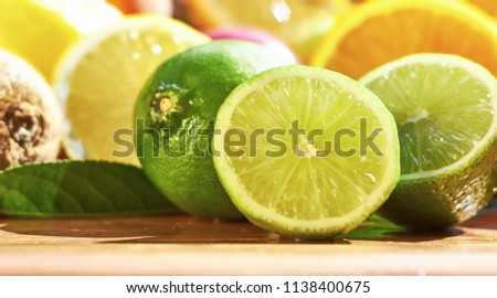Fruit lime with sliced ​​lime slices. #1138400675