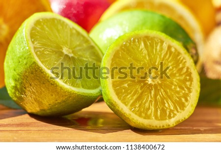 Fruit lime with sliced ​​lime slices. Citrus. #1138400672