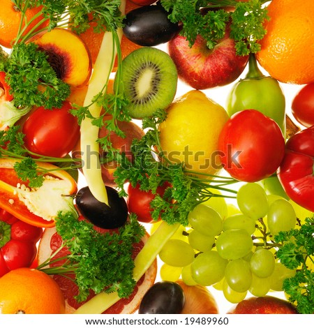 fruits and vegetables insulated on white background