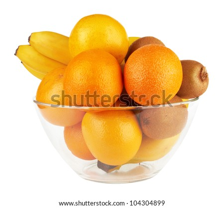 fruits in glass bowl isolated on a white