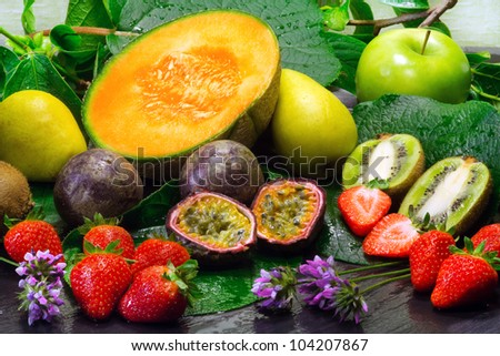 fruits selection over natural background