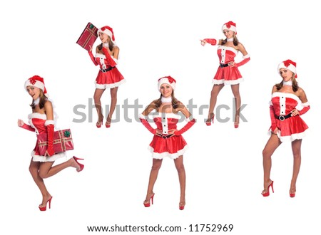 5 full body poses of Sexy Ms. Santa Claus  over white