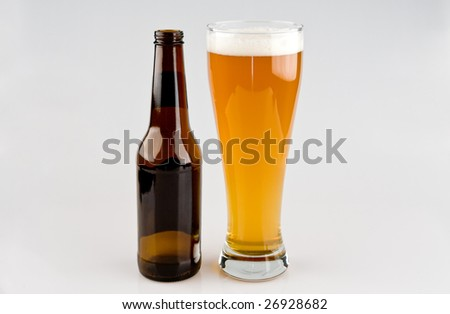 Full Glass of Beer with Bottle