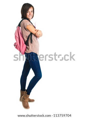 Full length portrait of a beautiful female student