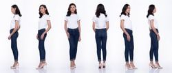 360 Full Length Snap Figure, Asian Woman wear casual white shirt blue jean, she 20s stands and acts in many poses, studio lighting white background isolated collage group