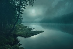 full moon on a mystical forest lake at night