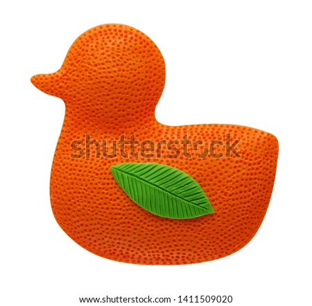 Funny tangerine duckling, mix of toys and tangerines, made of plasticine #1411509020