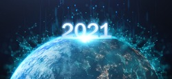 2021 futuristic technology concept, happy new year in earth on planet background with connection of comunitity technology , high growth of tech around world  Elements of this image furnished by NASA