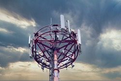 4G and 5G cellular. Macro Base Station or Base Transceiver Station. Telecommunication tower. Wireless Communication Antenna Transmitter. Development of communication systems in urban area at sunset .