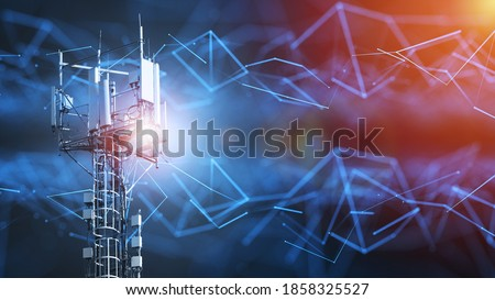 4G and 5G cellular telecommunication tower. Telecommunication equipment for a 5G radio network with radio modules and smart antennas installed  Stockfoto ©