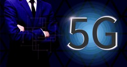 5G business technology. Wallpaper for banner with copy space. Futuristic design template. Vector stock illustration eps10