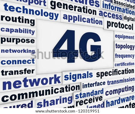 4G communication message design. Modern network standard word clouds background - stock photo