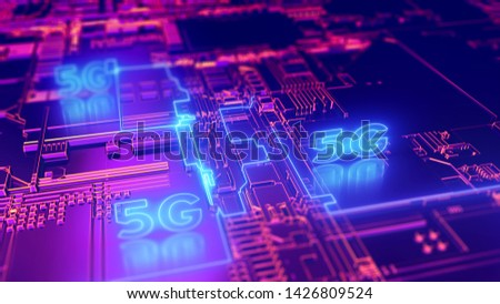 5G fifth generation cellular network technology. Broadband access 3D illustration concept. Сток-фото ©