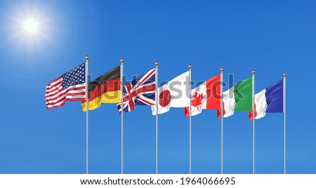 3G7 flags of countries of Group of Seven : Canada, USA states, Germany, Italy, France, Japan. G7 summit 11–13 June 2021 in the United Kingdom. Big Seven. D illustration.  Сток-фото ©