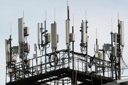 3G, 4G and 5G cellular antennas. Base Transceiver Station. Telecommunication tower. Wireless Communication Antenna Transmitters.